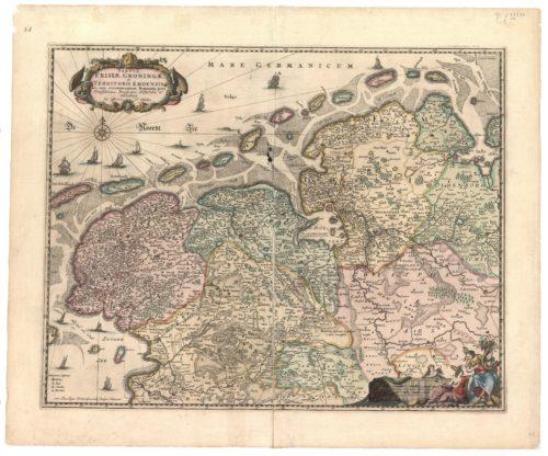 Karte der nördlichen Region von Nicolaas Visscher, ca. 1660.  (Drenter Archiv, Topografischer Atlas)